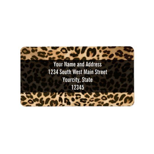 Arrière - plan d'empreinte de léopard étiquette d'adresse