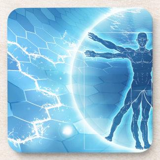 Arrière - plan d'hexagone d'homme de Vitruvian Dessous-de-verre