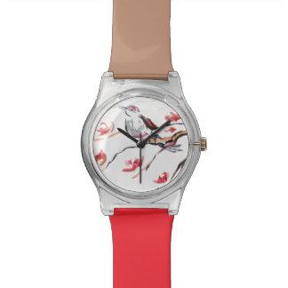 Arrière - plan d'oiseau de chant montres bracelet