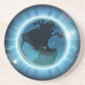 Arrière - plan du monde de globe de la terre dessous de verre