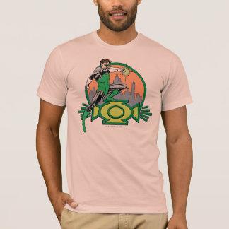 Arrière - plan et logo verts de ville de lanterne t-shirt