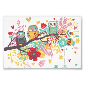 Arrière - plan floral coloré de coeurs de hiboux m photos d'art