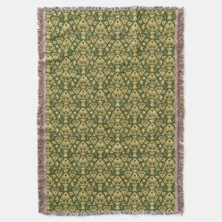 Arrière - plan floral en bois de motif de damassé couvre pied de lit