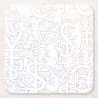 Arrière - plan global de devises comme motif de dessous-de-verre carré en papier