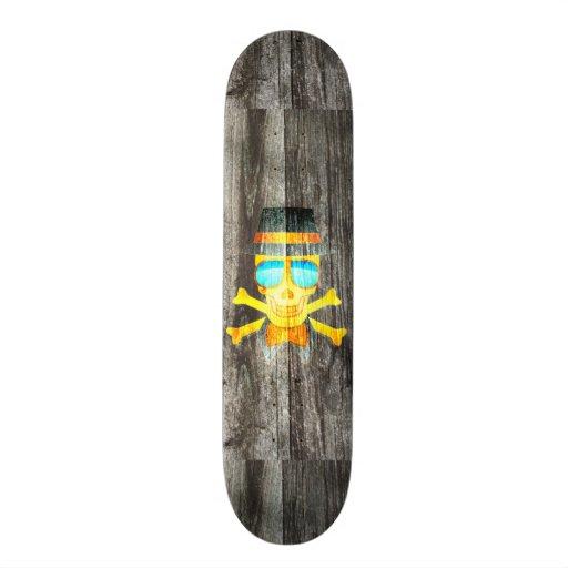 Arrière - plan gris en bois de crâne de chapeau fr plateau de skateboard