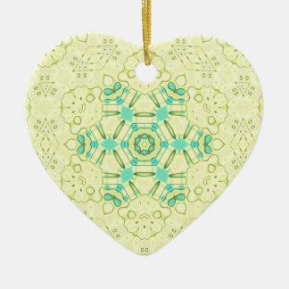 Arrière - plan jaune chic moderne avec Teal Ornement Cœur En Céramique