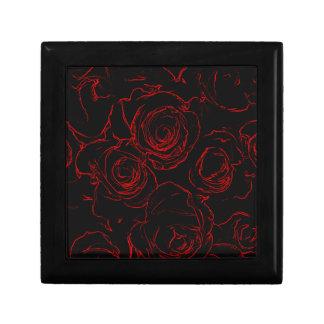 Arrière - plan noir de roses rouges boîte à souvenirs