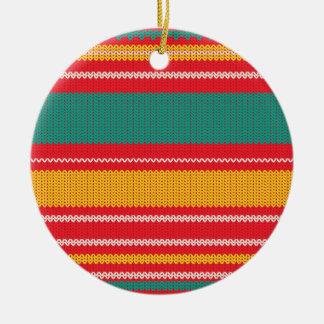 Arrière - plan rayé de tricot ornement rond en céramique