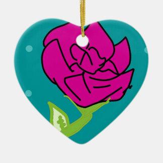 arrière - plan rose de bleu de fleur ornement cœur en céramique