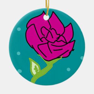arrière - plan rose de bleu de fleur ornement rond en céramique
