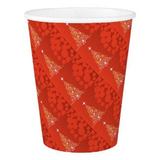 Arrière - plan rouge d'arbre de Noël Gobelets En Papier