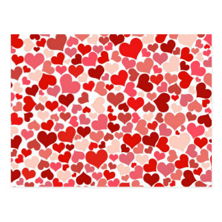 Arrière - plan rouge mignon de coeurs cartes postales