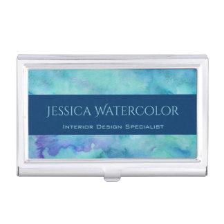 Arrière - plan turquoise d'aquarelle avec la boîtier pour cartes de visite