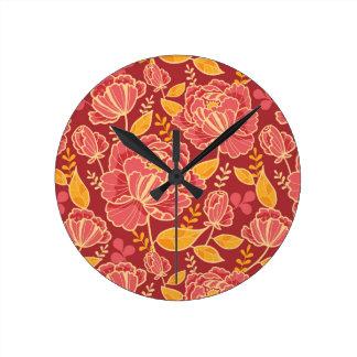 Arrière - plan vertical de motif de jardin de chut horloge ronde
