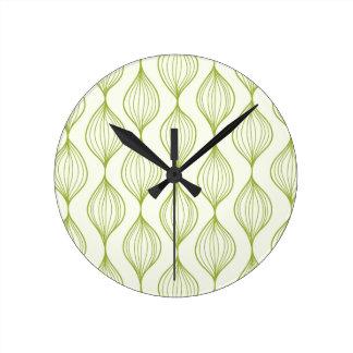 Arrière - plan vertical vert de motif d'ogee horloge ronde