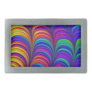 Art 3D abstrait coloré par arc-en-ciel Boucle De Ceinture Rectangulaire