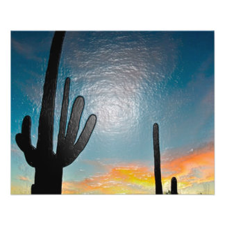 Art 3d en plastique de coucher du soleil de cactus prospectus 11,4 cm x 14,2 cm