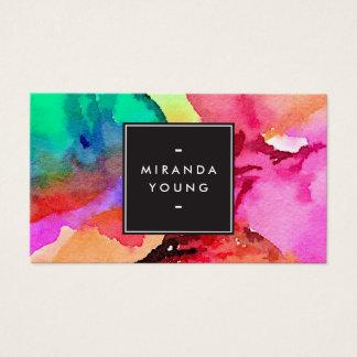 Art abstrait coloré lumineux d'aquarelle cartes de visite