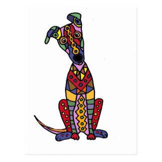 Art abstrait de chien Artsy drôle de lévrier Cartes Postales