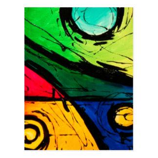 Art abstrait de couleurs lumineuses géniales carte postale