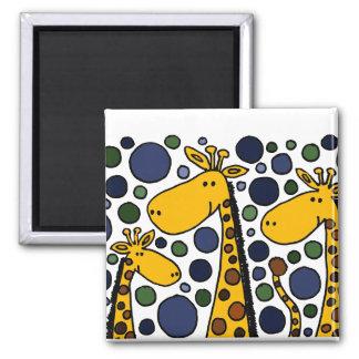 Art abstrait de famille drôle de girafe magnets
