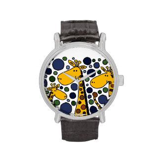 Art abstrait de famille drôle de girafe montres cadran