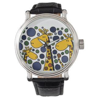 Art abstrait de famille drôle de girafe montres bracelet