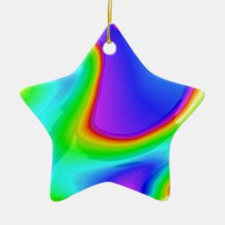 Art abstrait de l'arc-en-ciel 3D Ornement Étoile En Céramique