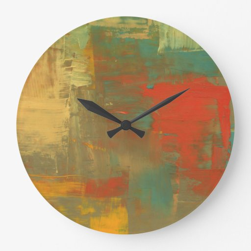 art abstrait de toile d 39 horloge murale de peinture grande horloge ronde zazzle. Black Bedroom Furniture Sets. Home Design Ideas