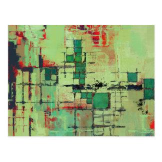 Art abstrait de trellis vert cartes postales
