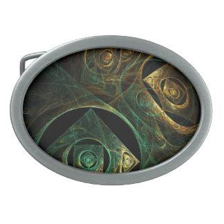 Art abstrait de vibrations magiques boucle de ceinture ovale
