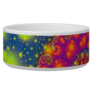 Art abstrait décoratif au néon en spirale psychédé bol pour chien