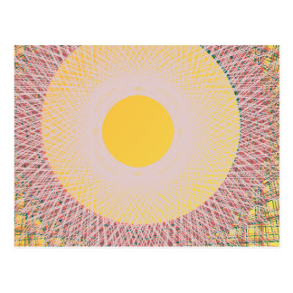 art abstrait du soleil jaune carte postale