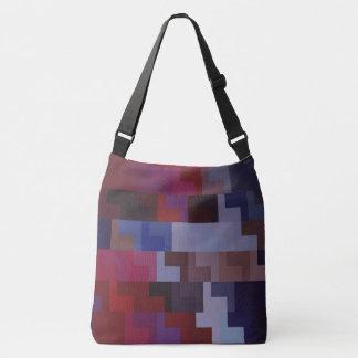 Art abstrait géométrique tuiles pourpres et bleues sac