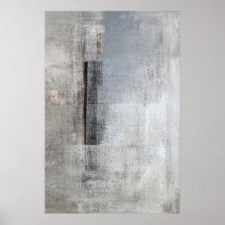 """Art abstrait gris et beige """"de solitaire total"""" posters"""