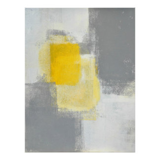 """Art abstrait gris et jaune """"de mélange de traînée"""" posters"""