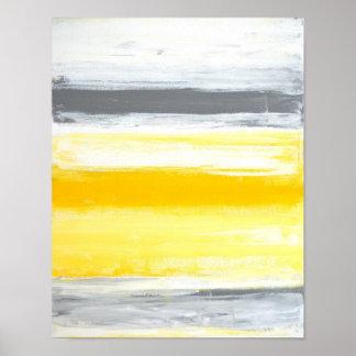 """Art abstrait gris et jaune """"plié"""" posters"""