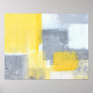 """Art abstrait gris et jaune """"régulier"""" posters"""