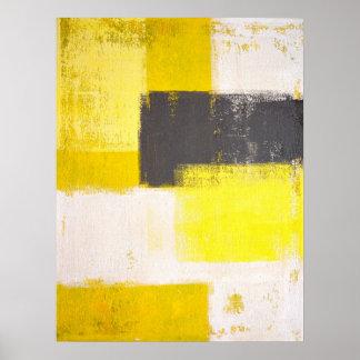 """Art abstrait gris et jaune """"simplement moderne"""" posters"""