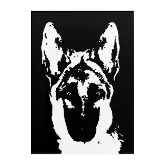 Art acrylique noir et blanc de berger allemand de