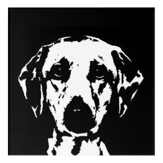 Art acrylique noir et blanc de Labrador de mur