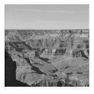 Art acrylique noir et blanc de mur de canyon grand