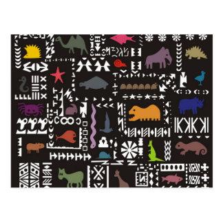 Art africain abstrait coloré carte postale