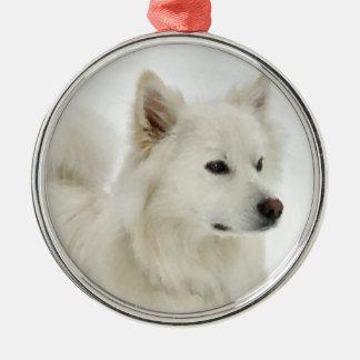 Art américain de chien esquimau ornement rond argenté