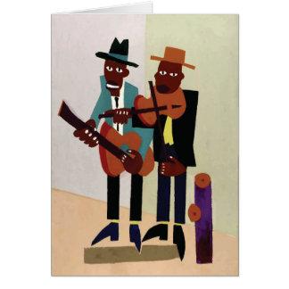 Art américain vintage de ~ de musiciens de rue carte de vœux