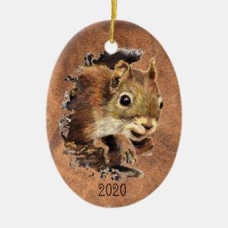 Art animal d'animal d'aquarelle d'écureuil daté de ornement ovale en céramique