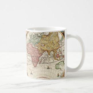 Art antique rare du monde d'hémisphères vintages mug blanc