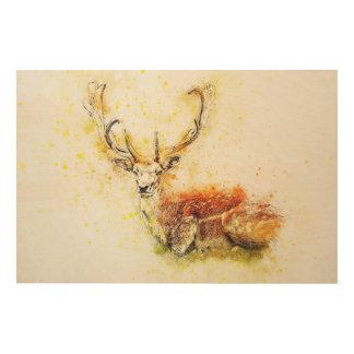 Art Antlered de mur de cerfs communs sur la nature