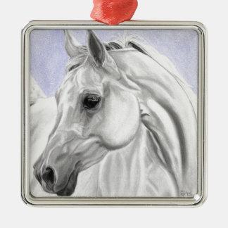 Art Arabe blanc d'original de cheval Ornement Carré Argenté
