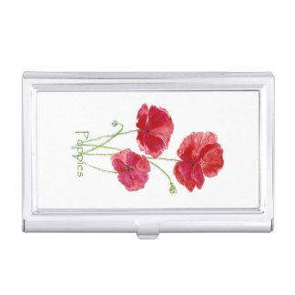 Art assez floral rouge de fleur de pavot porte-cartes de visite